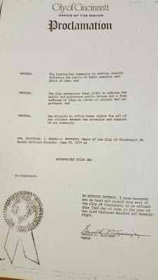 1978 Cincinnati Pride Proclamation